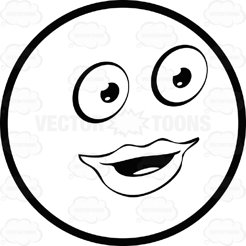 Full Lipped Large Eyed Black and White Smiley Face Emoticon Female, Parted Lips