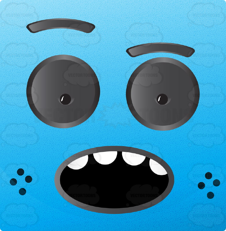 Open Mouth Smiling Blue Block Square Smiley With Grey Eyes, Freckles, Open Mouth Showing Upper Teeth, Raised Eyebrow