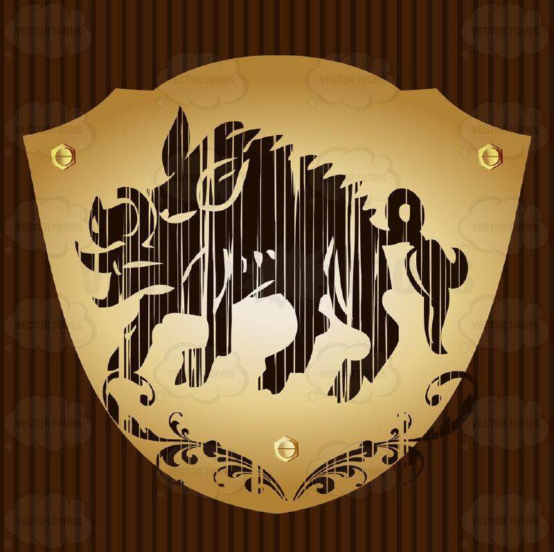 Wild Boar With Ornate Florish Above It Coat Of Arms On Gold Plate Screwed On Wooden Brown Background