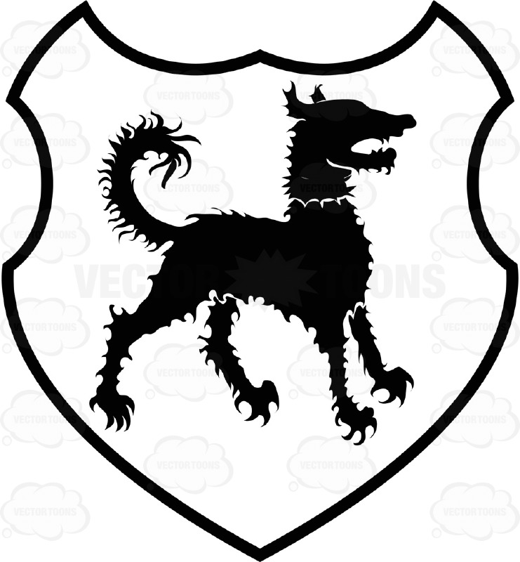 Black And White Curly Hair Dog Coat Of Arms Inside Geometric Plaque Shield