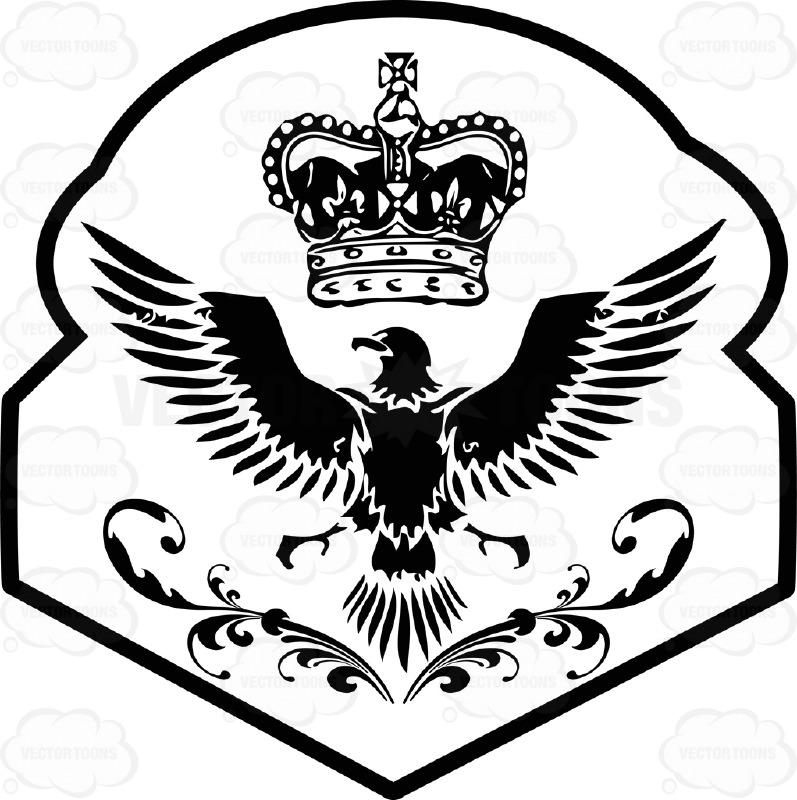 Black And White Eagle With Imperial Crown Above It Coat Of Arms Inside Geometric Plaque Shield