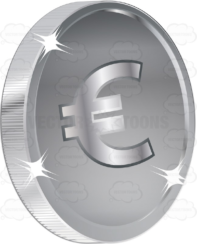 Euro Sign On Silver Coin Currency