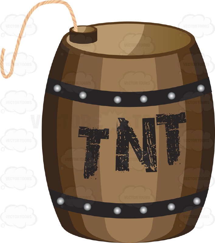 brown wooden barrel with tnt painted on side with fuse vector graphics vectortoons