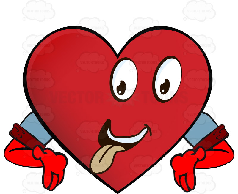 Heart Smiley With Tongue Out Smiling, Hungry Looking Hands Upturned Arms Wearing Rolled Up Sleeves