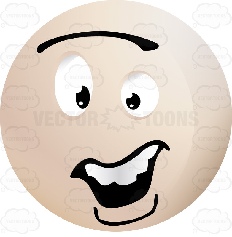Concerend, Light Colored Smiley Face Emoticon With Unibrow, Open Mouth, Straight Teeth, Lower Lip
