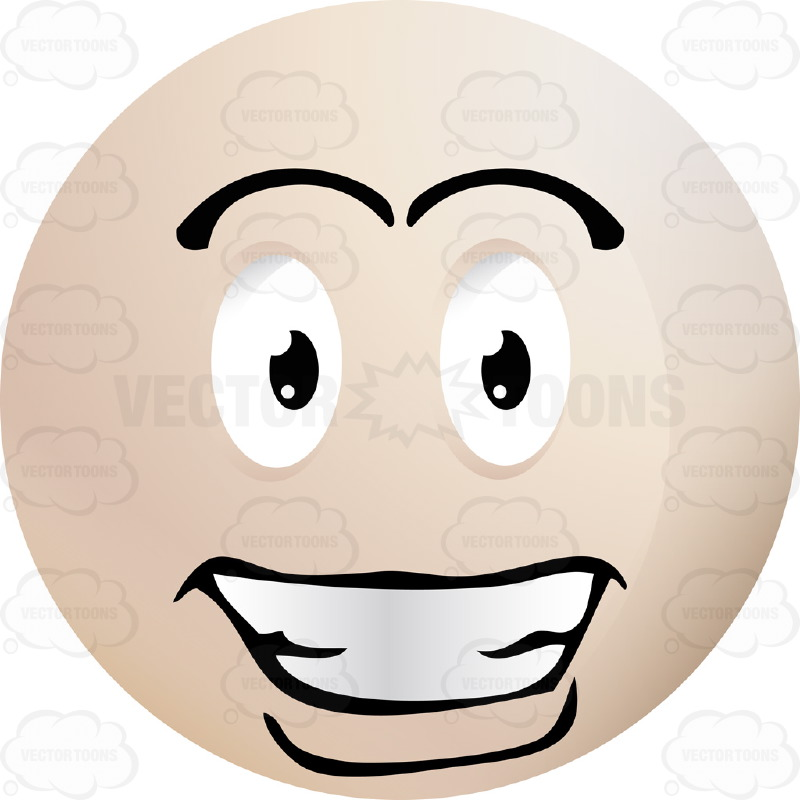 Handsome Smiling  Light Colored Smiley Face Emoticon, With Hollywood Smile