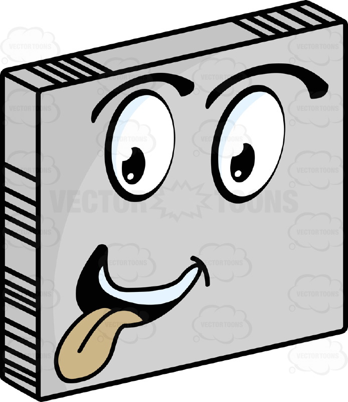 Smiley Face Emoticon Sticking Out Red Tongue, Making Silly Face Looking Left On Grey Square Metal Plate Tilted Right