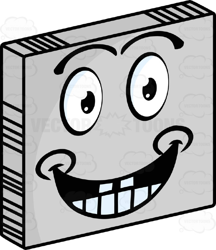 Happy  Smiley Face Emoticon With Wide Grin, Teeth, Dimples, Looking Straight Ahead On Grey Square Metal Plate Tilted Right