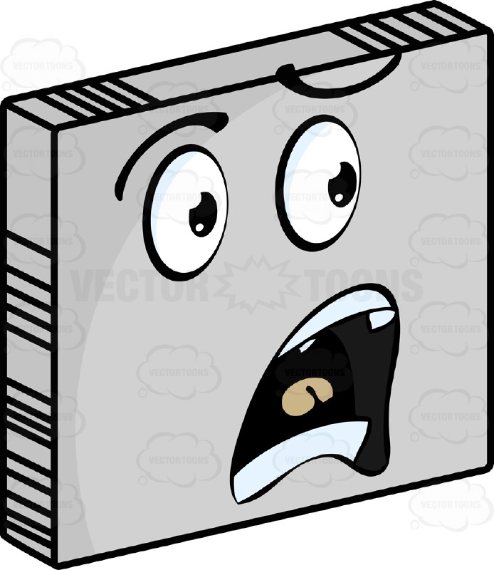 Startled  Smiley Face Emoticon With Open Mouth in Frown, Upper and Lower Teeth On Grey Square Metal Plate Tilted Right