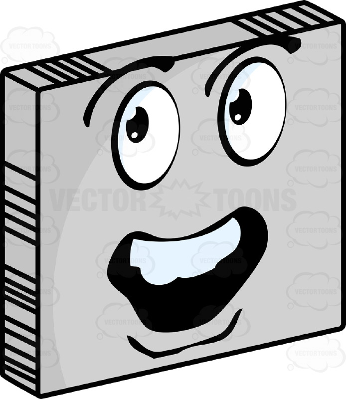 Amazed  Smiley Face Emoticon With Gaping Open Mouth, Strong Chin, Lower Lip, Looking Left On Grey Square Metal Plate Tilted Right