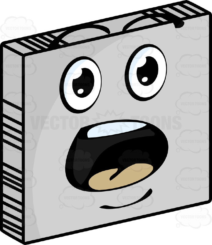 Startled  Smiley Face Emoticon With Wide Open Mouth, Raised Eyebrows in Amazement On Grey Square Metal Plate Tilted Right