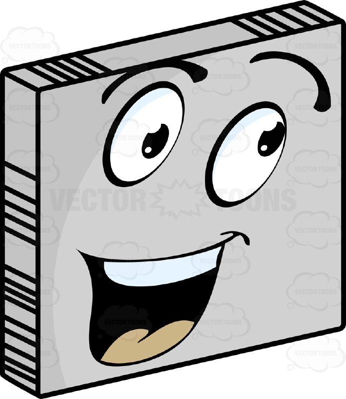 Cheerful, Friendly Talkative  Smiley Face Emoticon With Wide Open Mouth, Straight Upper Teeth, Smile, Looking Right, Raised Eyebrows On Grey Square Metal Plate Tilted Right