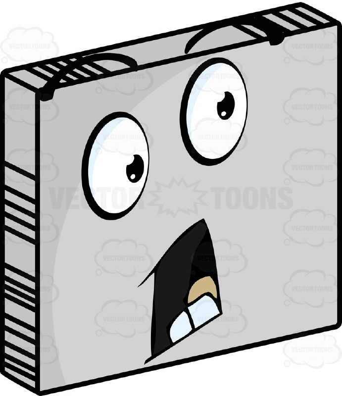 Panicked  Smiley Face Emoticon, Open Mouth, Raised EyebrowsOn Grey Square Metal Plate Tilted Right