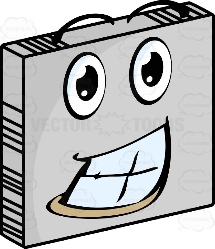 Thrilled  Smiley Face Emoticon Showing Full Teeth, Huge Smile, Lower Lip, Wide Eyes And Raised Eyebrows On Grey Square Metal Plate Tilted Right