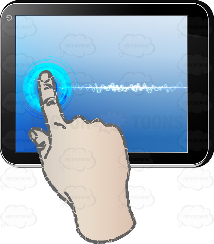 Black Computer Tablet Horizontal, Right Hand index Finger Touching Pointing Blue Screen