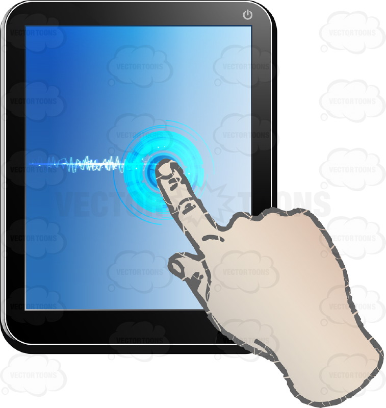 Black Computer Tablet Vertical, Left Hand Index Finger Touching, Dragging Across Blue Screen