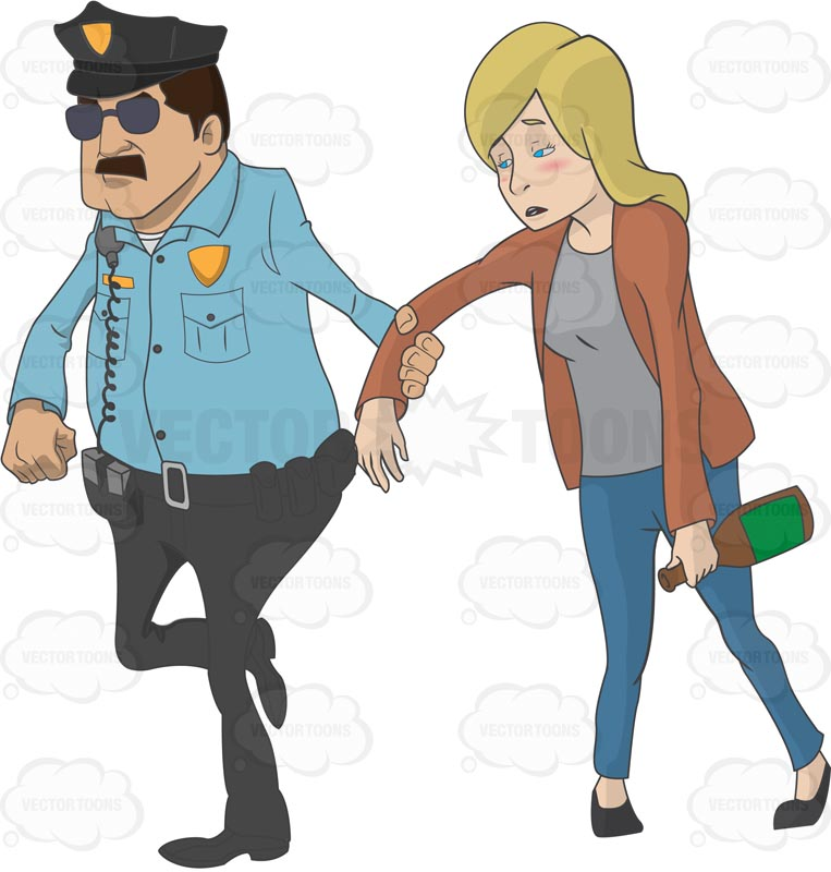 Police officer pulling on a drunk Caucasian woman's arm while walking