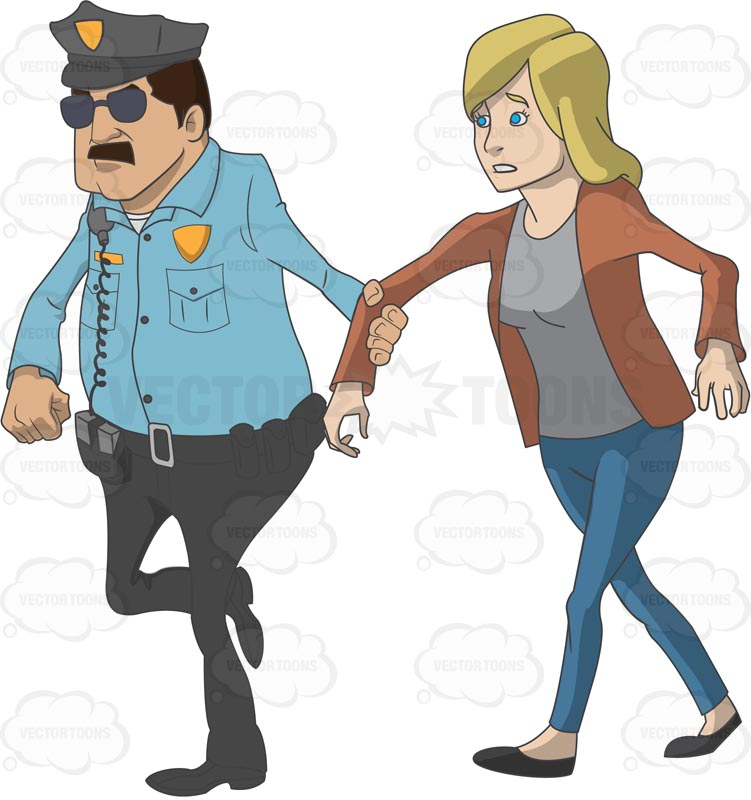 Confused looking Caucasian woman being led away by a police officer