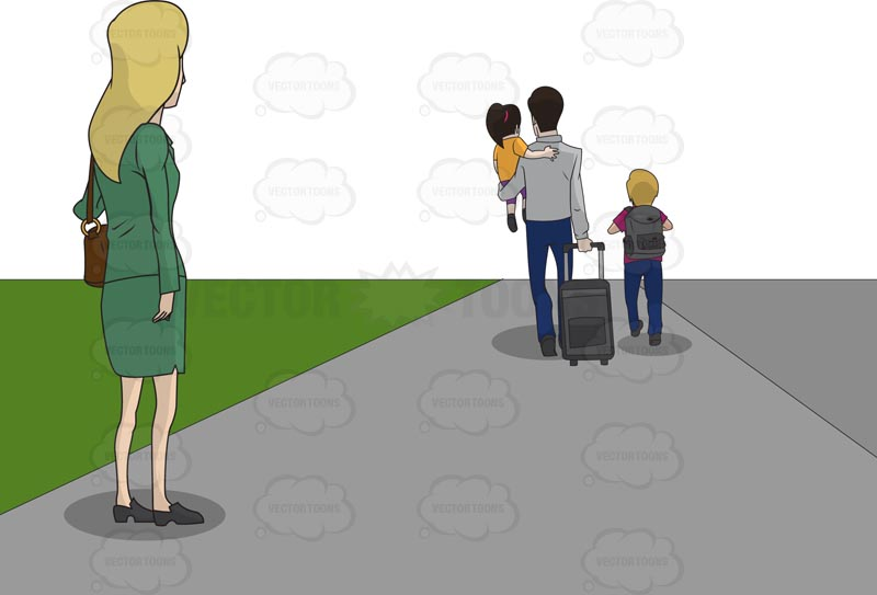 Blonde woman watching as her husband and children walk away with suitcases