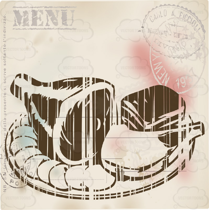 Distressed Sepia Vintage Food Label Showing Ham Hock And Sliced Meats On Plate With Word 'Menu' Stamped in Corner