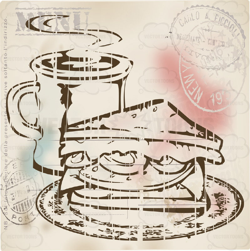 Rustic Sepia Vintage Food Label of Half of Sandwich With Steaming Mug of Coffee With Stamps in Corner And Word 'Menu' Above