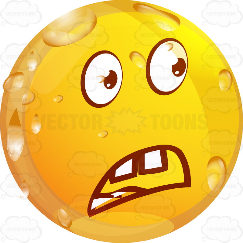 Troubled Wet Yellow Smiley Face Emoticon Frowning, Open Red Mouth