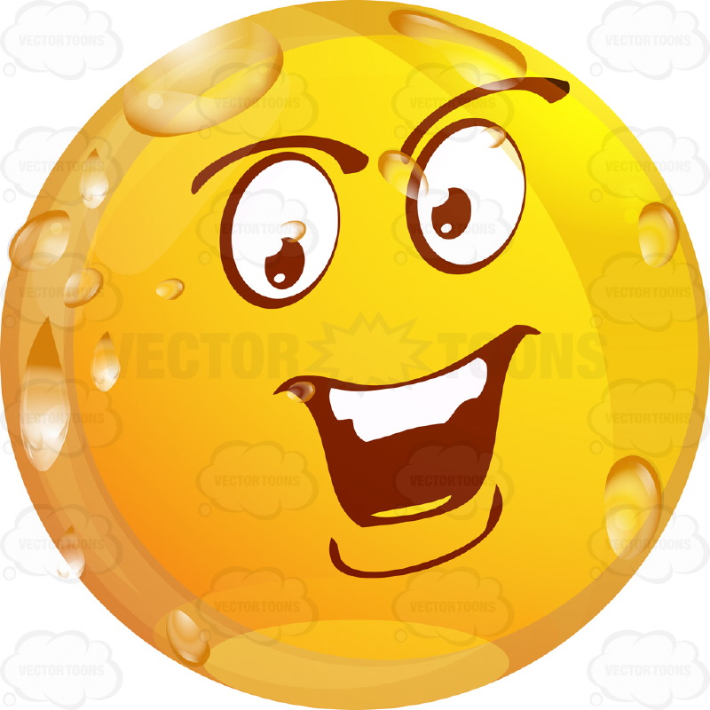 Bossy Wet Yellow Smiley Face Emoticon With Strong Chin, Straight Teeth, Looks Arrogant