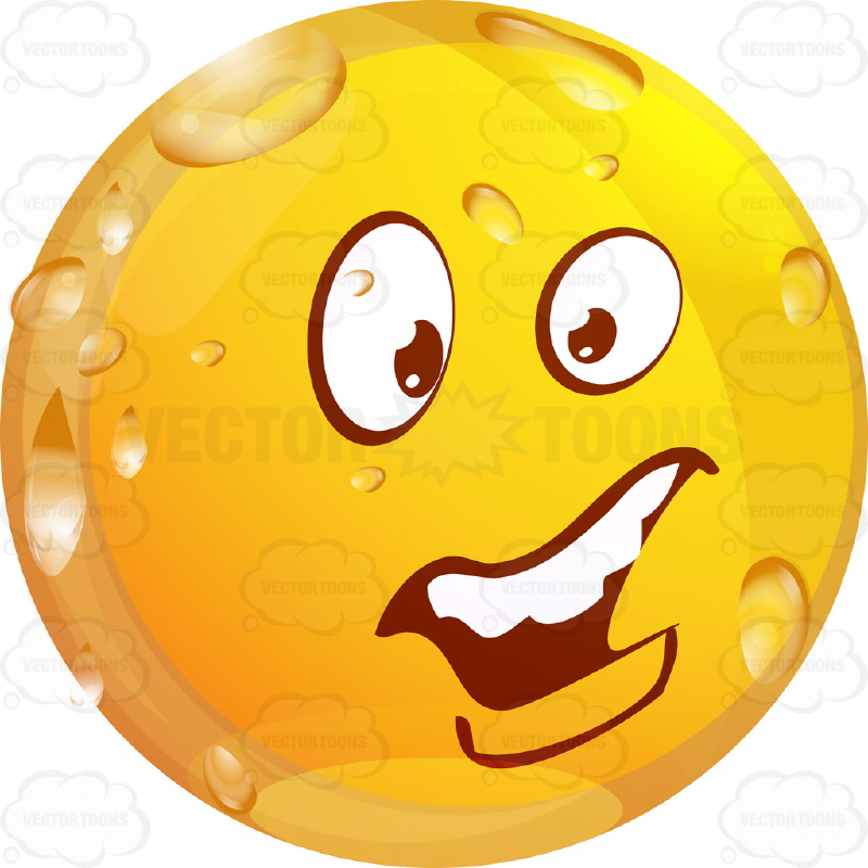 Concerend Wet Yellow Smiley Face Emoticon With Unibrow, Open Mouth, Straight Teeth, Lower Lip