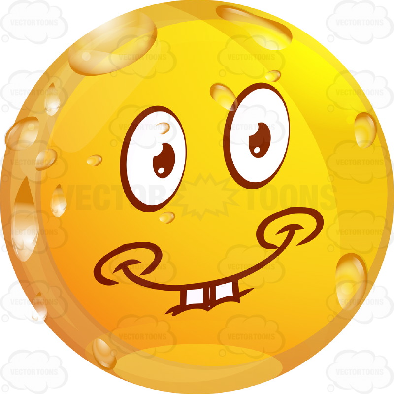 Innocent Looking Wet Yellow Smiley Face Emoticon With Dimples, Buck Teeth Smile, Arched Eyebrows