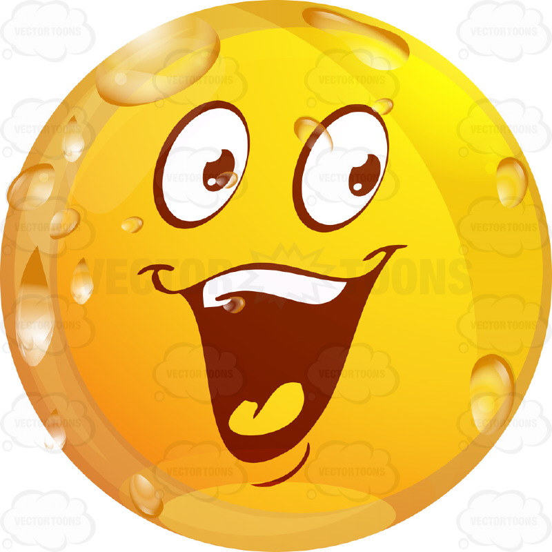 Laughing Wet Yellow Smiley Face EmoticonWith Raised Eyebrows, Wide Open Mouth and Tongue, Full Set of Upper Teeth