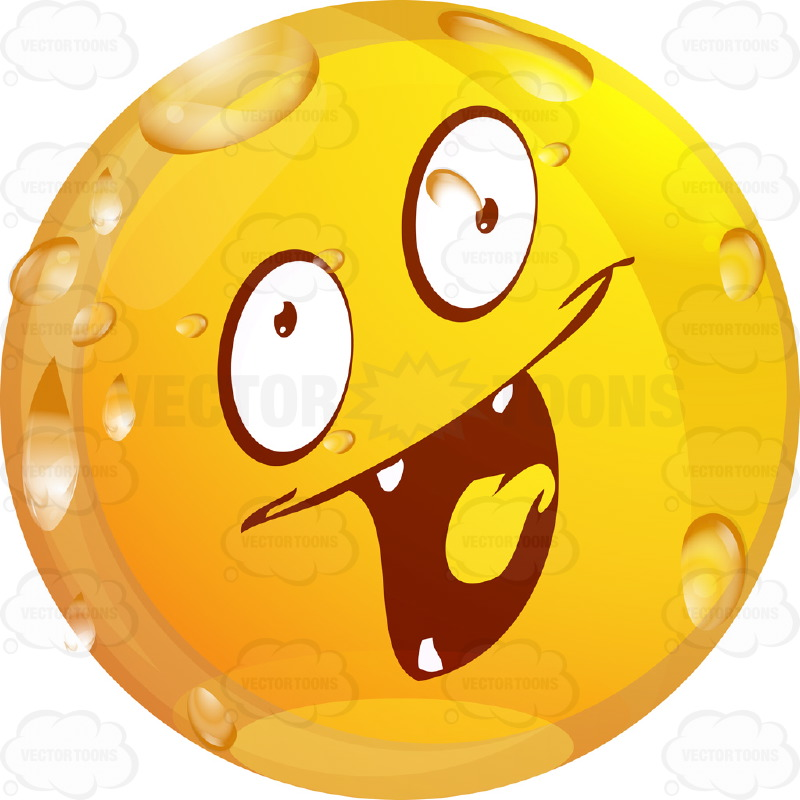 Evil Looking Wet Yellow Smiley Face Emoticon With Four Pointy Teeth, Lowered  Left Eyebrow, Red Tongue