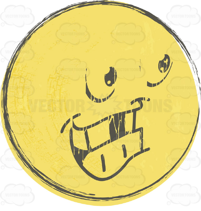 Big-Toothed Distressed, Faded Yellow Smiley Face Emoticon With Missing Teeth, Looking Right