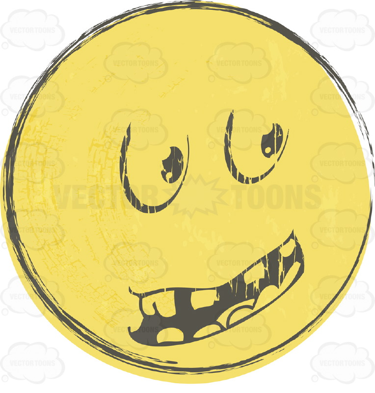 Questioning Rough Sketched Faded Yellow Smiley Face Emoticon With Block Teeth, Looking Right
