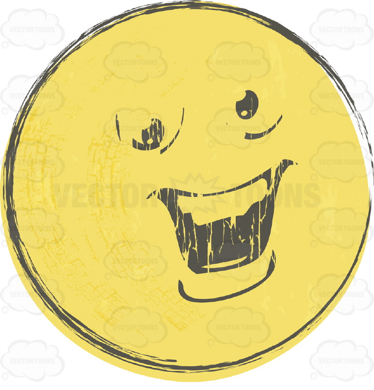 Bossy  Smiley Face Emoticon With Strong Chin, Straight Teeth, Looks Arrogant  Rough Sketched Faded Yellow Smiley Face Emoticon