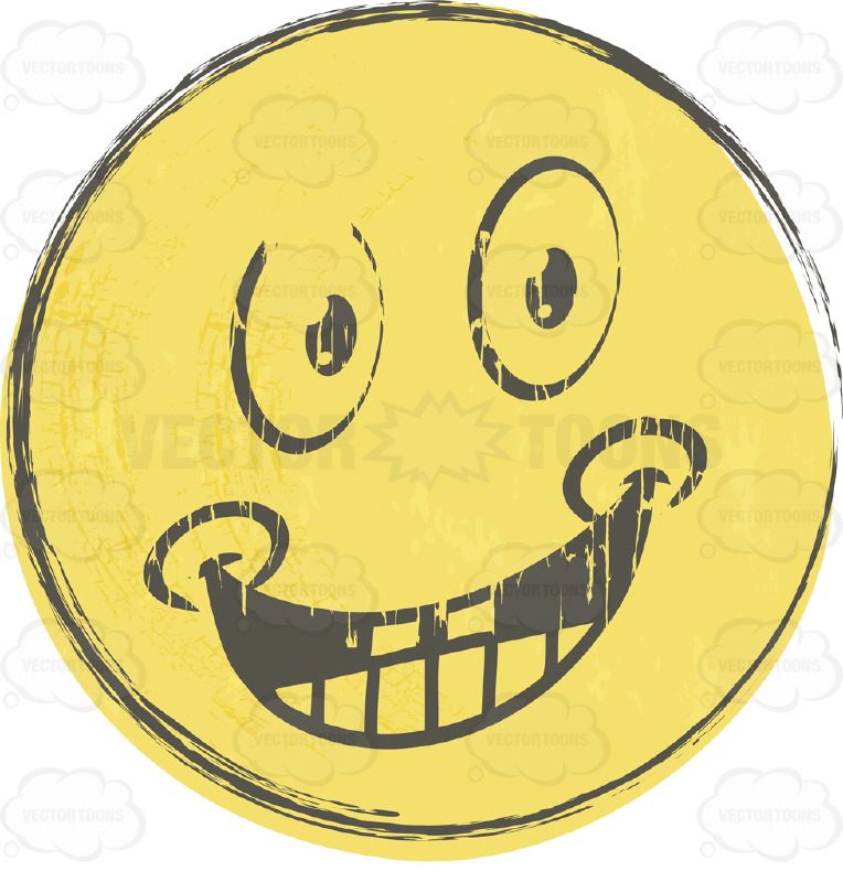 Happy Rough Sketched Faded Yellow Smiley Face Emoticon With Wide Grin, Teeth, Dimples, Looking Straight Ahead