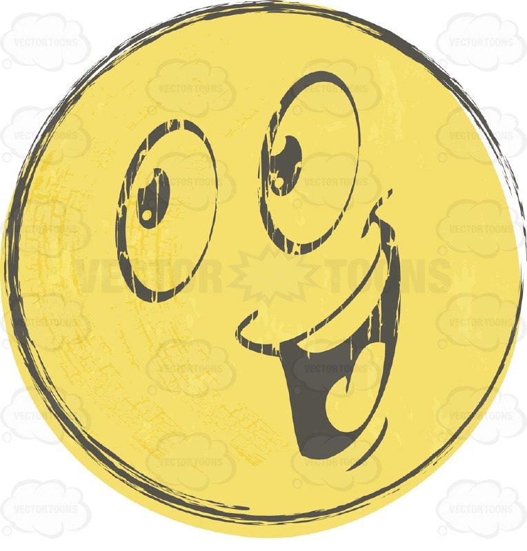 Ecstatic Rough Sketched Faded Yellow Smiley Face Emoticon With Open Smiling Mouth Showing  Tongue, Teeth, Wide Eyes, Looking Left