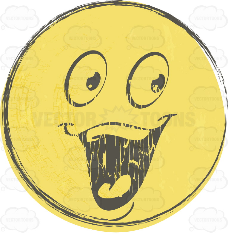 Laughing Faded Yellow Rough Sketched Smiley Face Emoticon , Huge Eyes, Wide Open Mouth and Tongue, Full Set of Upper Teeth