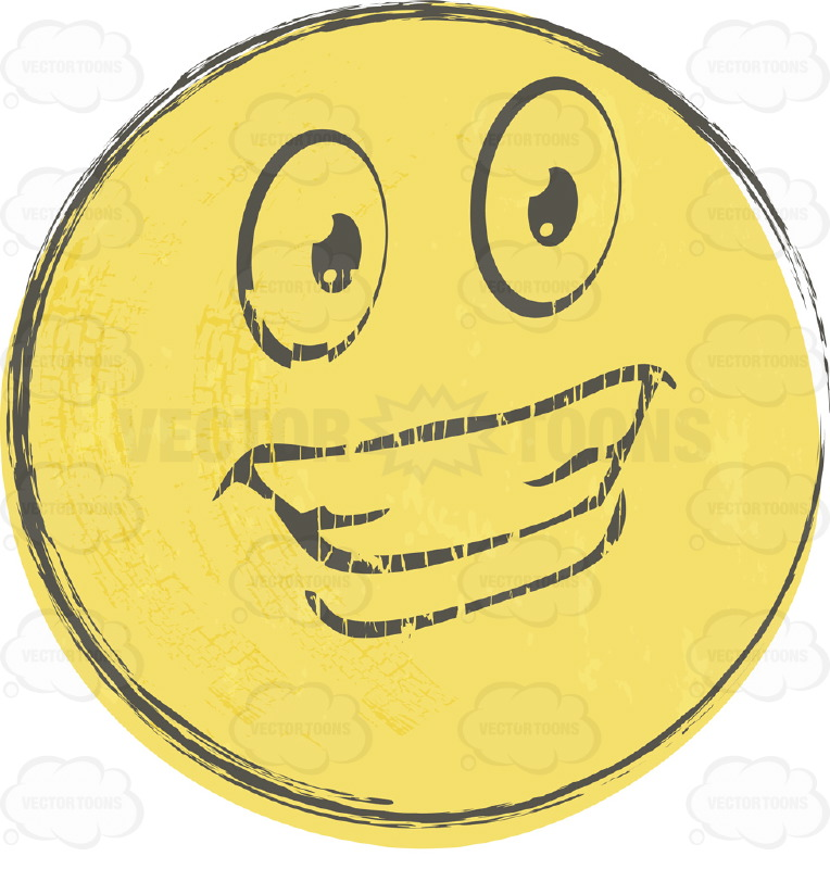 Handsome Smiling Faded Yellow Rough Sketched Smiley Face Emoticon, With Hollywood Smile