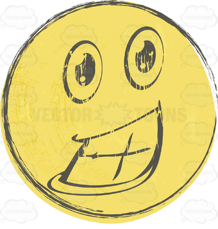 Thrilled Faded Yellow Distressed Smiley Face Emoticon Showing Full Teeth, Huge Smile, Lower Lip, Wide Eyes