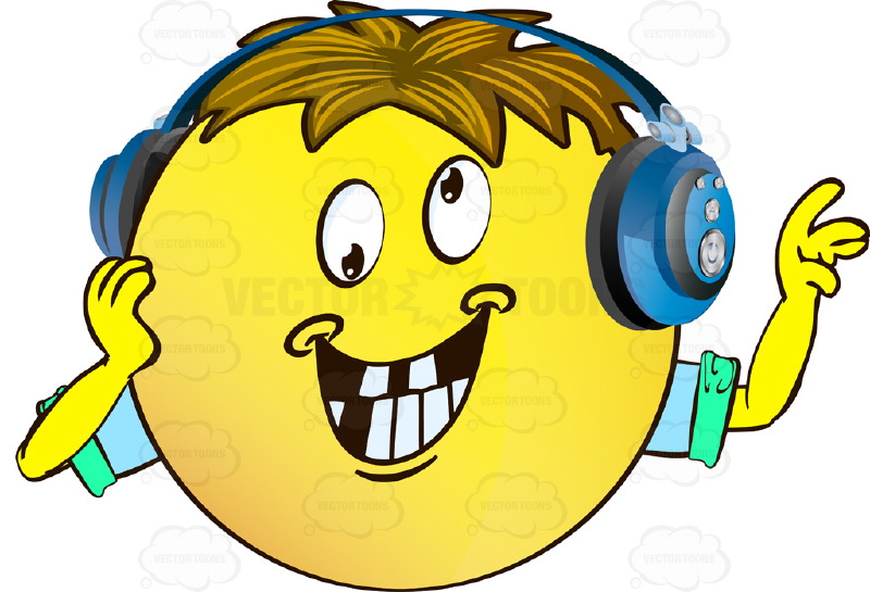Crazy Eyes Rolling In Different Directions Yellow Smiley Face Emoticon With Arms, Brown Hair and Headphones Missing Teeth Smile Arms Wearing Rolled Up Sleeves