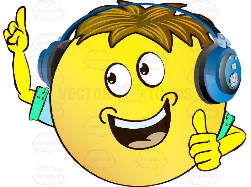 Open Mouthed Yellow Smiley Face Emoticon With Arms, Brown Hair and Headphones With Arms One Raised Making Point, Other Thumbs Up Wearing Rolled Up Sleeves