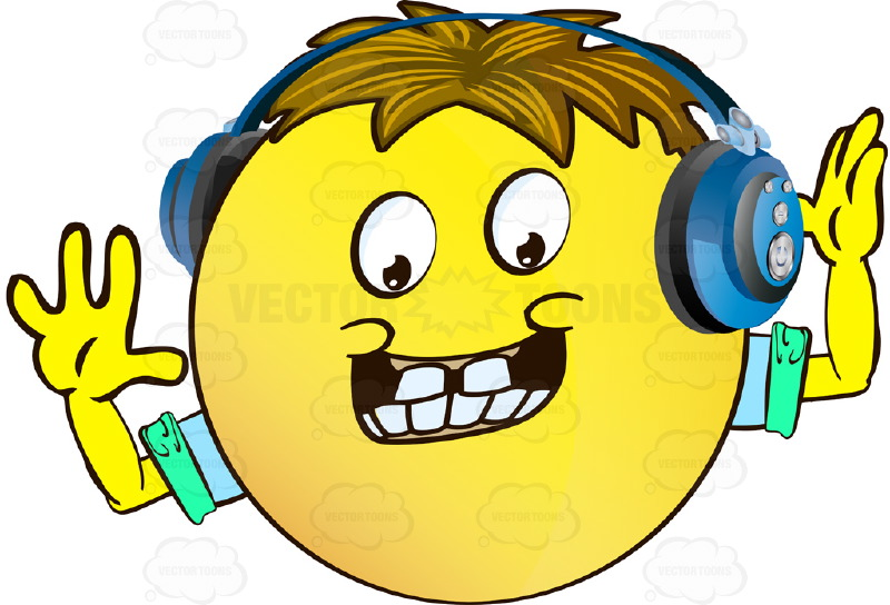Naive Yellow Smiley Face Emoticon With Arms, Brown Hair and Headphones With Dimples, Bucked Teeth, Arms Wearing Rolled Up Sleeves