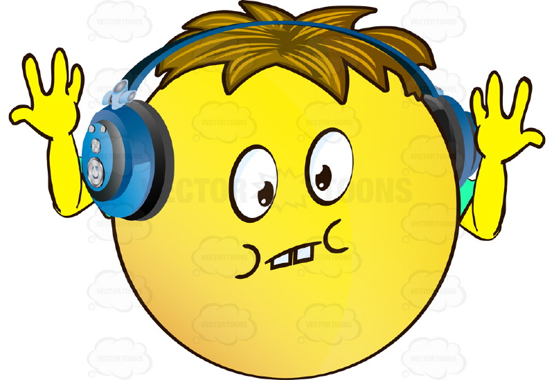 Uncertain Yellow Smiley Face Emoticon With Arms, Brown Hair and Headphones Throwing Hands Up in Air