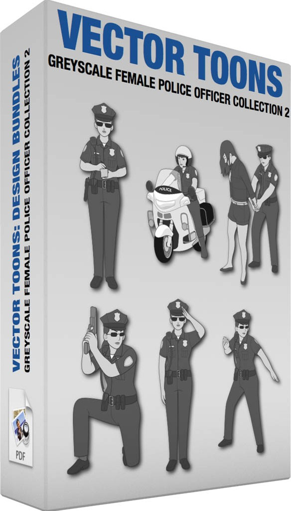 Greyscale female police officer collection 2