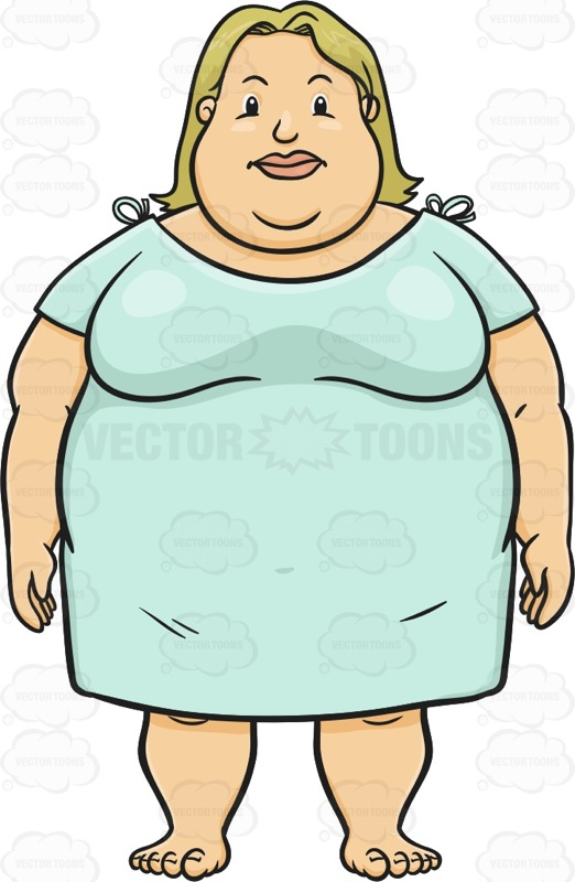 Overweight Woman Facing Forward Wearing A Hospital Gown