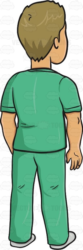 Male Wearing Green Scrubs Standing With His Body Facing Away