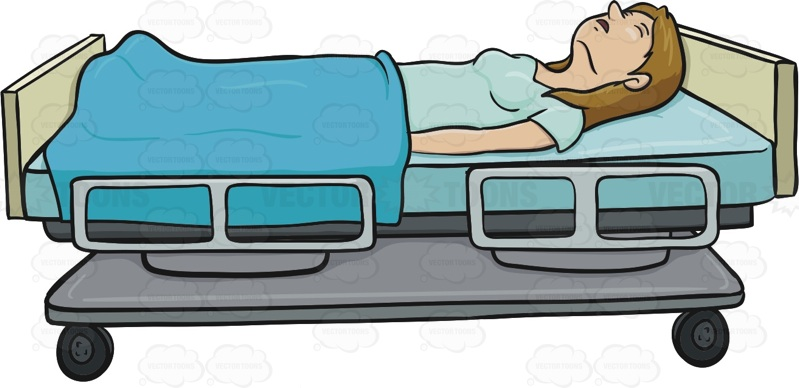 Woman Is Laying On A Hospital Bed With Her Eyes Clothes She Is Covered Halfway With A Blanket