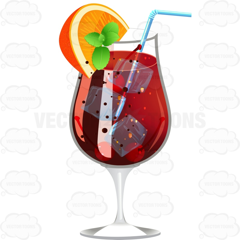 Dark Red Drink Garnished With A Lemon Wedge And Mint Vector Graphics Vectortoons Com