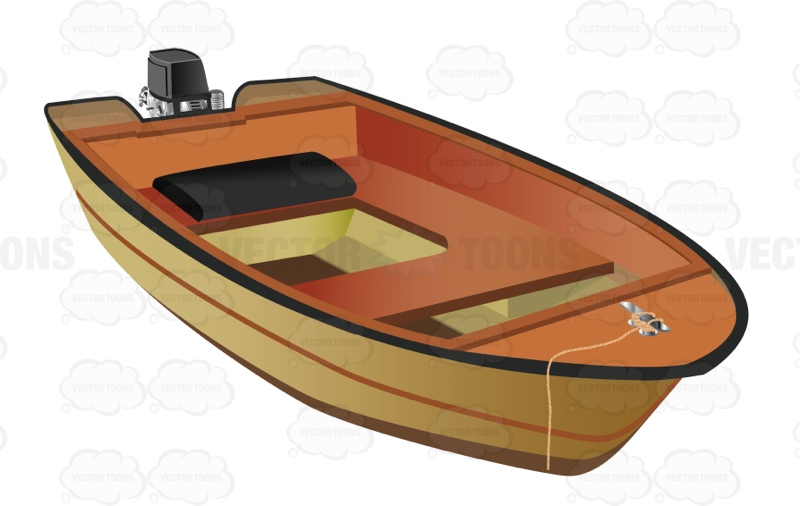 Cartoon Outboard Motors : Small motor boat used for fishing vector graphics