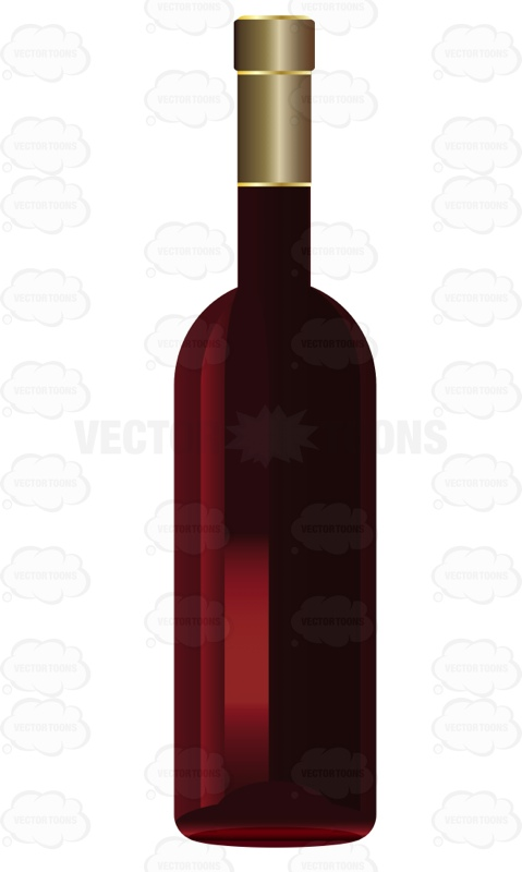 Bottle Of Red Wine With No Label